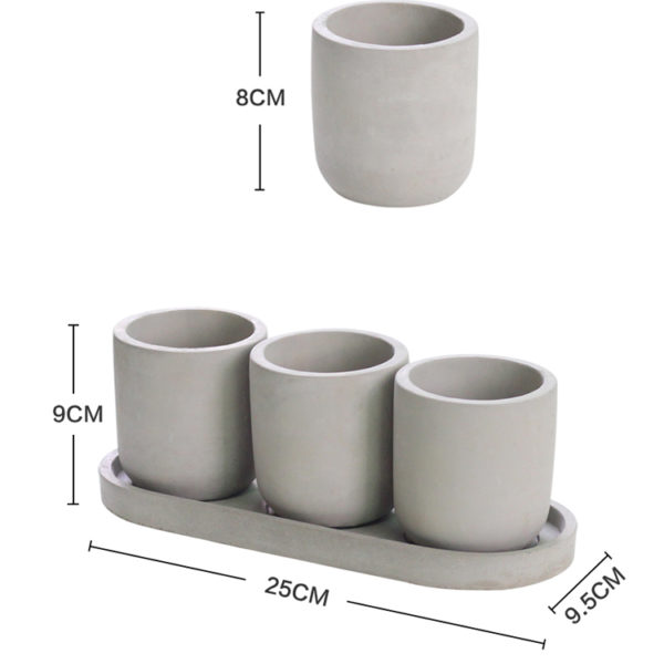mini cement pot set